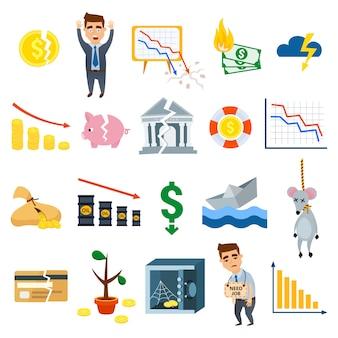 Simboli piani dell'illustrazione di vettore di finanza del segno di affari di simboli di crisi