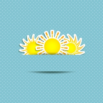 Simboli sole su un blu polka dot sfondo
