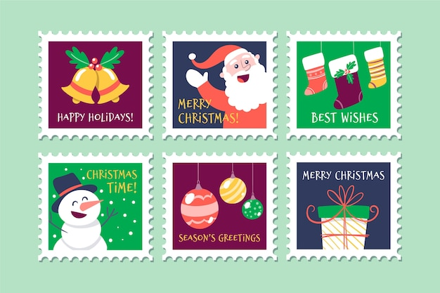 Simboli tradizionali sulla collezione di francobolli di natale