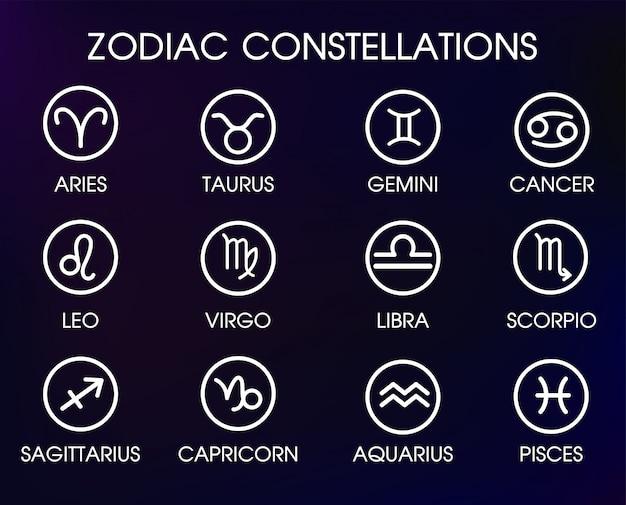 Simboli zodiacali costellazioni.