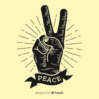 Simbolo classico delle dita di pace con stile vintage