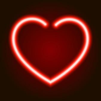 Simbolo d'ardore al neon rosso del cuore di amore su sfondo scuro di