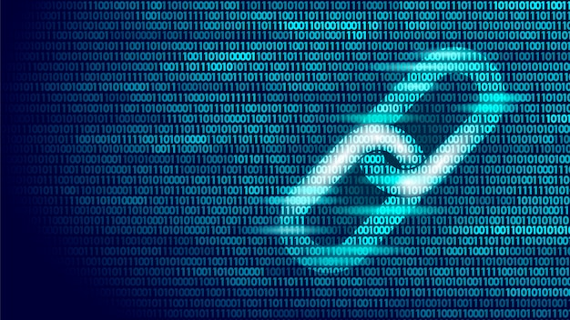 Simbolo del collegamento ipertestuale blockchain sul flusso di grandi quantità di codice binario