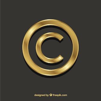 Simbolo del copyright in colore dorato