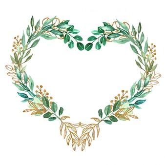 Simbolo del cuore fatto di foglie verdi e acquerello oro