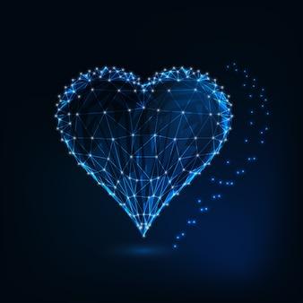 Simbolo del cuore incandescente, basso design poligonale.