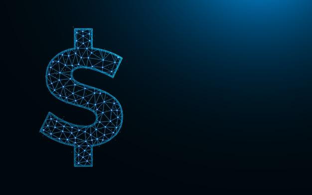 Simbolo del dollaro basso poli design, valuta in stile poligonale