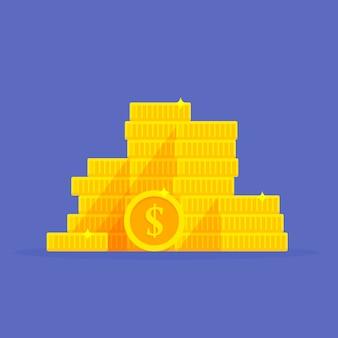 Simbolo del dollaro della pila delle monete di oro. cartone animato mucchio di soldi