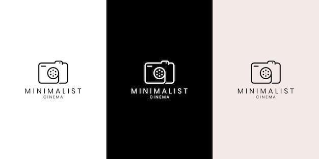 Simbolo del fotografo creativo semplice, icona, logo composto da fotocamera e bobina di pellicola