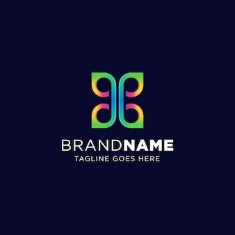 Simbolo del modello logo blend butterfly con colori vivaci. segno geometrico colorato simmetrico.