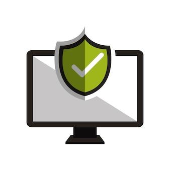 Simbolo del monitor e design del segno di spunta
