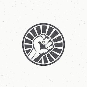 Simbolo del pugno di ribellione attivista. etichetta antisommossa astratta, emblema o modello di logo.
