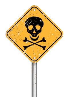 Simbolo del segnale di pericolo del palo del cranio del pericolo, stile di lerciume di vettore
