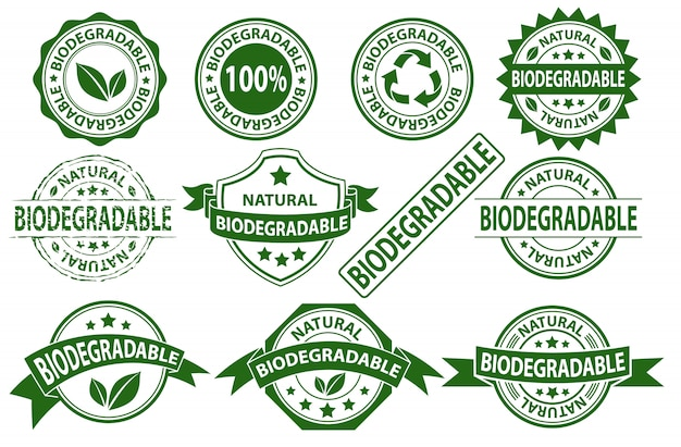 Simbolo del segno dell'etichetta del timbro di gomma biodegradabile, insieme di vettore dell'adesivo compostabile