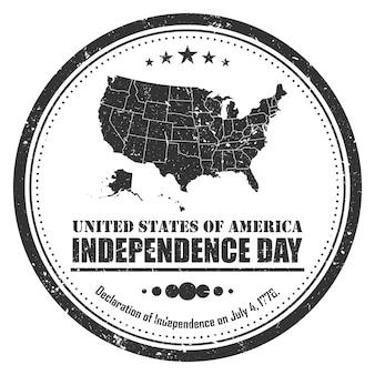 Simbolo del timbro mappa america. disegno del grunge. 4 luglio concetto di giorno dell'indipendenza