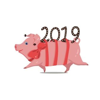 Simbolo dell'anno maiale divertente che corre dal 2019