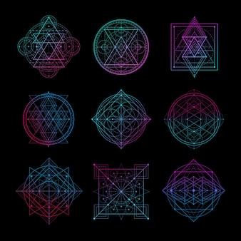 Simbolo della geometria sacra con illustrazione vettoriale di colore sfumato