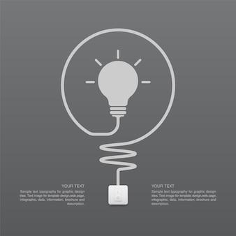 Simbolo della lampadina e interruttore della luce