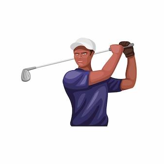 Simbolo della mascotte personaggio atleta golf. concetto scuro del bastone da golf dell'oscillazione dell'uomo della pelle nell'illustrazione del fumetto