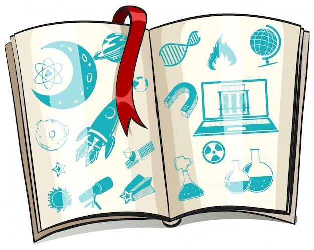 Simbolo della scienza su un libro