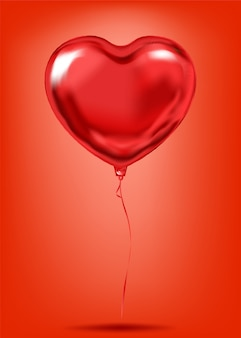 Simbolo di amore di desiderio del palloncino di forma del cuore di stagnola rossa