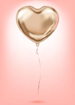 Simbolo di amore dorato del pallone di forma di cuore della stagnola di oro rosa