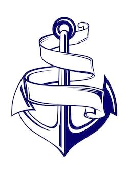 Simbolo di ancoraggio con nastro o banner per il design di viaggio