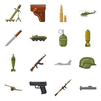 Simbolo di arma e pistola disegno vettoriale. collezione di armi ed esercito