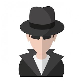Simbolo di avatar hacker ladro
