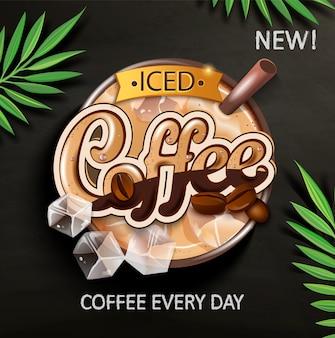 Simbolo di caffè freddo con cubetti di ghiaccio