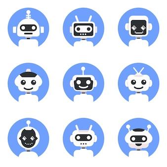 Simbolo di chatbot, modello logo. set di icone di robot. disegno del segno bot. illustrazione piana del personaggio dei cartoni animati di stile moderno di vettore.