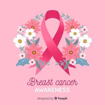 Simbolo di consapevolezza del cancro al seno con corona di fiori