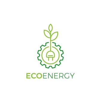 Simbolo di foglia e ruota dentata logo design stile lineare, modello di logo eco energy