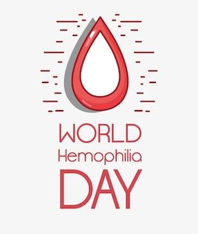 Simbolo di goccia di sangue rosso al giorno di emofilia