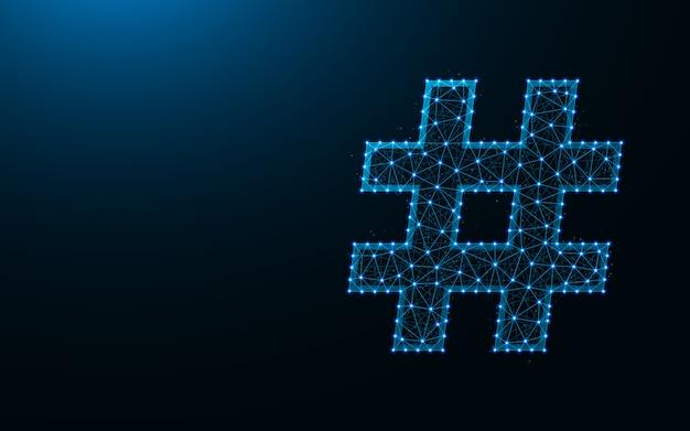 Simbolo di hashtag sfondo poli basso design