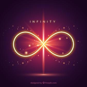 Simbolo di infinito con effetto riflesso lente