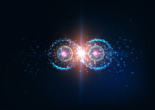 Simbolo di infinito futuristico, entanglement quantistico, futuro concetto di scienza della fisica.