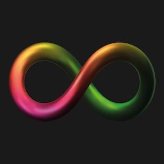 Simbolo di infinito in metallo in stile 3d. illustrazione