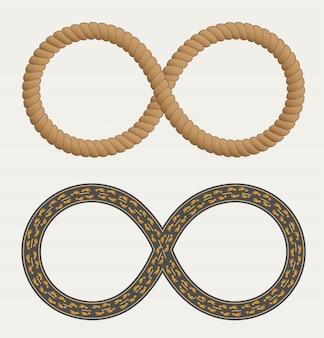 Simbolo di infinito nella forma di corda e strade