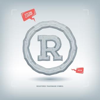 Simbolo di marchio registrato. elemento di carattere tipografico scolpito in pietra. illustrazione.
