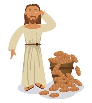 Simbolo di miracolo del pane di moltiplicazione di gesù cristo