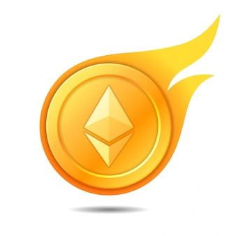 Simbolo di moneta ethereum fiammeggiante, icona