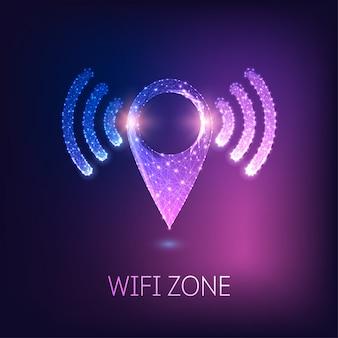 Simbolo di navigazione gps poligonale basso incandescente futuristico con segnali wi-fi.