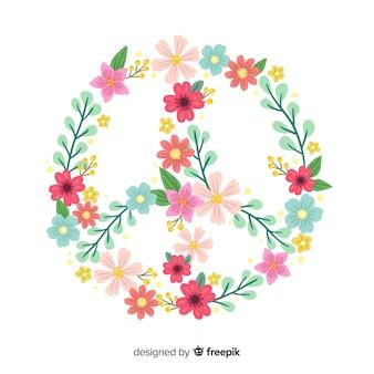 Simbolo di pace adorabile con stile floreale