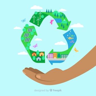 Simbolo di riciclaggio piatto con campi verdi