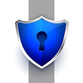 Simbolo di scudo di sicurezza blu con serratura a chiave