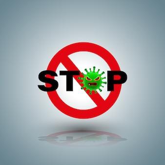 Simbolo di stop con personaggio covid-19 per stop campagna coronavirus.