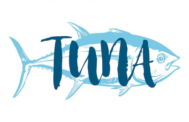 Simbolo di tonno su sfondo bianco