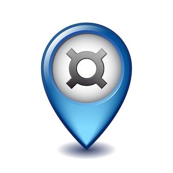 Simbolo di valuta generico sull'icona marcatore di mappatura. illustrazione del simbolo di valuta sul puntatore della mappa. simbolo dell'unità monetaria. illustrazione