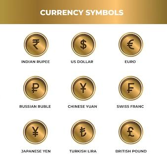 Simbolo di valuta stile oro